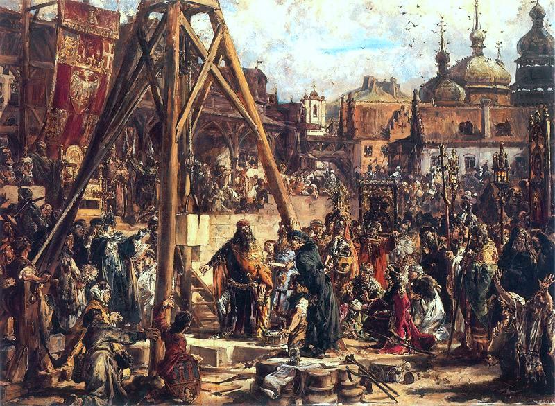Fondation de la première église à Lwow par le roi Kazimierz Wielki. Peinture de Matejko.
