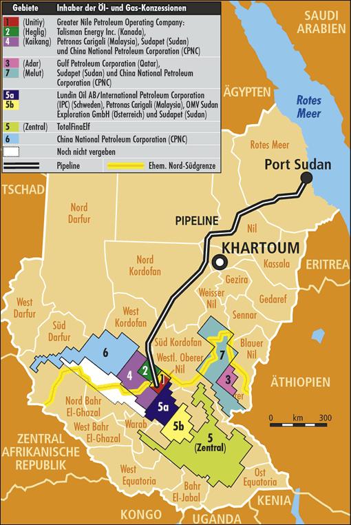 Karte der Öl- und Gas-Konzessionen im Sudan