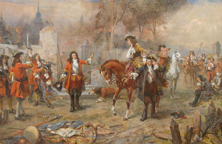 The Duke of Marlborough greeting Prince Eugene of Savoy mounted after their victory at Blenheim by Robert Alexander Hillingford. The Duke of Marlborough greeting Prince Eugene of Savoy after their victory at Blenheim.jpg