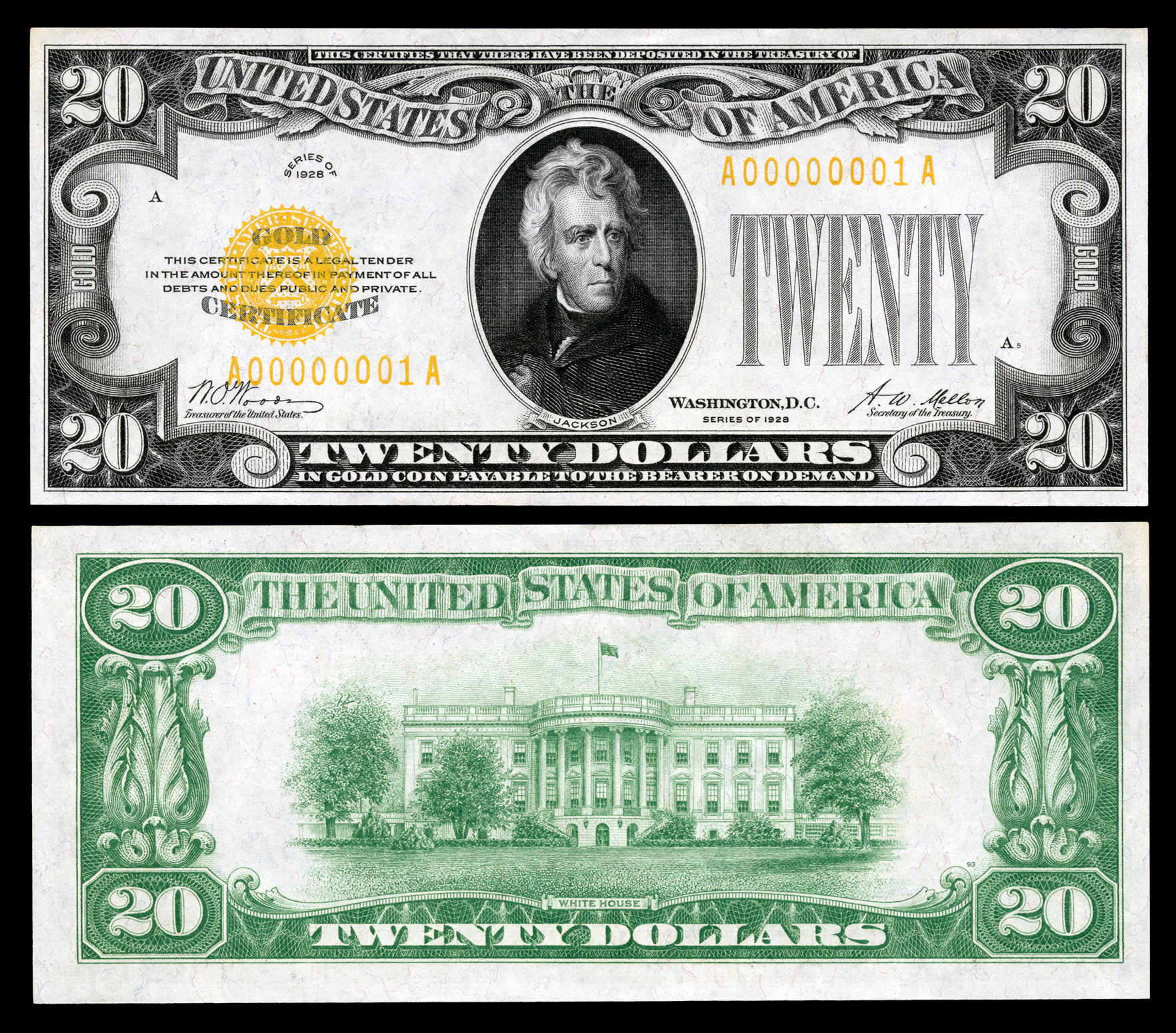 Gold certificate wikipedia 20 gold certificate series 1928 fr2402 depicting andrew jackson xflitez Choice Image