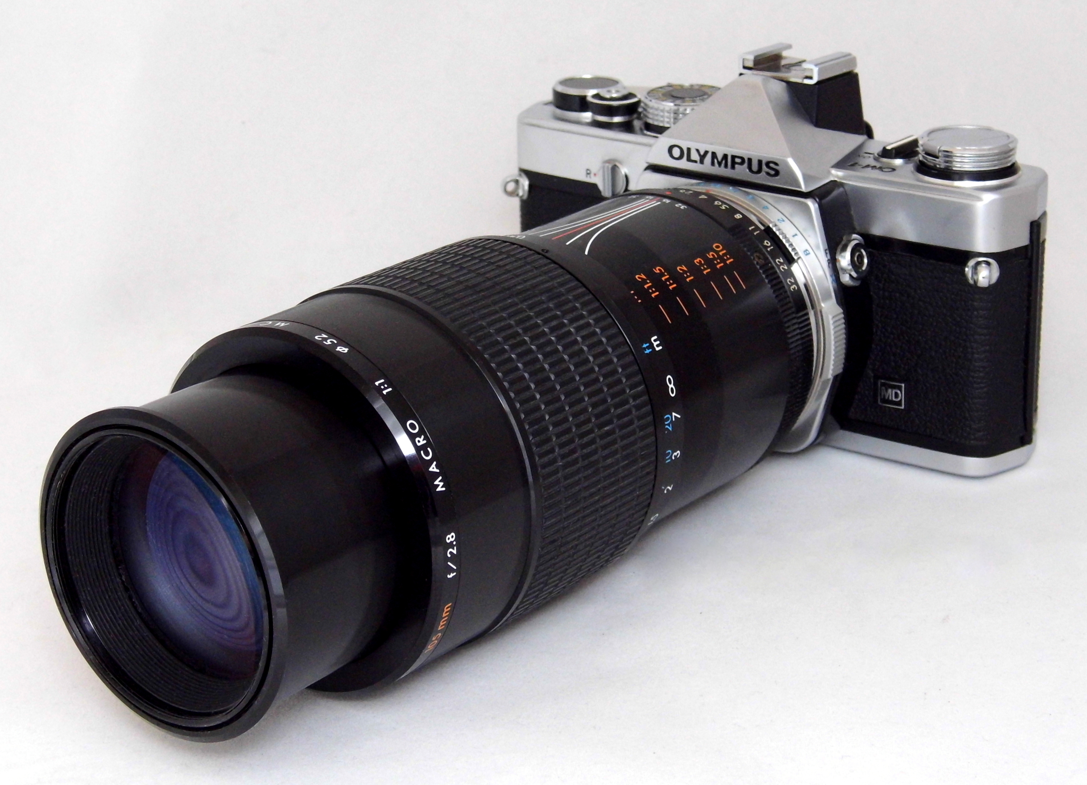 File:Vintage Olympus OM-1 35mm Film SLR Camera With Kiron 105mm f2 8