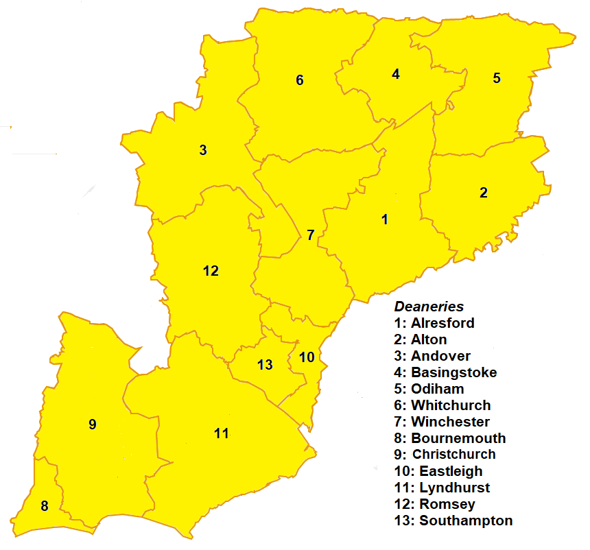 Mainland deaneries of the Diocese of Winchester Winchester mainland deaneries.png