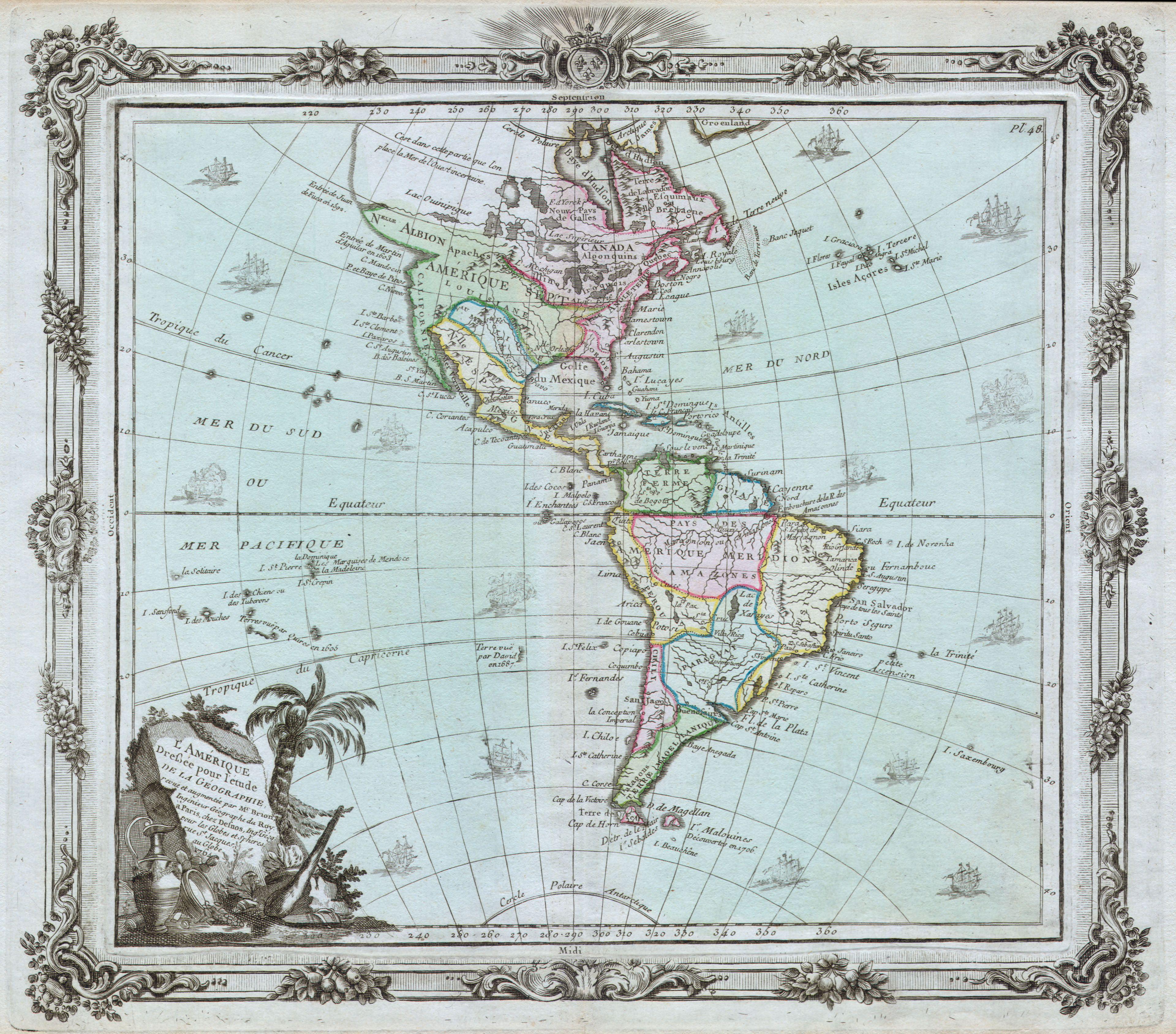 file 1764 brion de la tour map of america north america south america