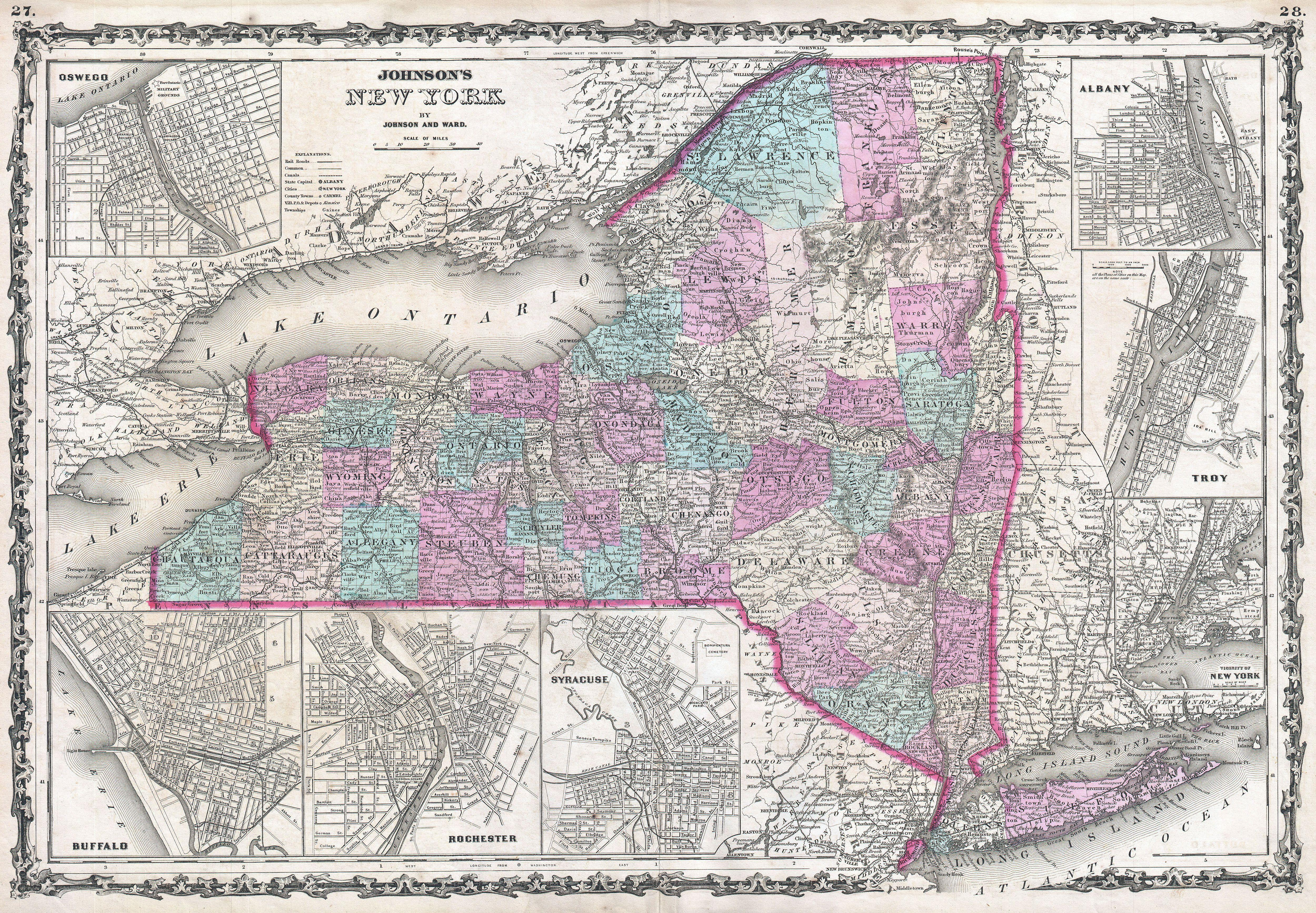 file1862 johnson map of new york state geographicus ny johnson
