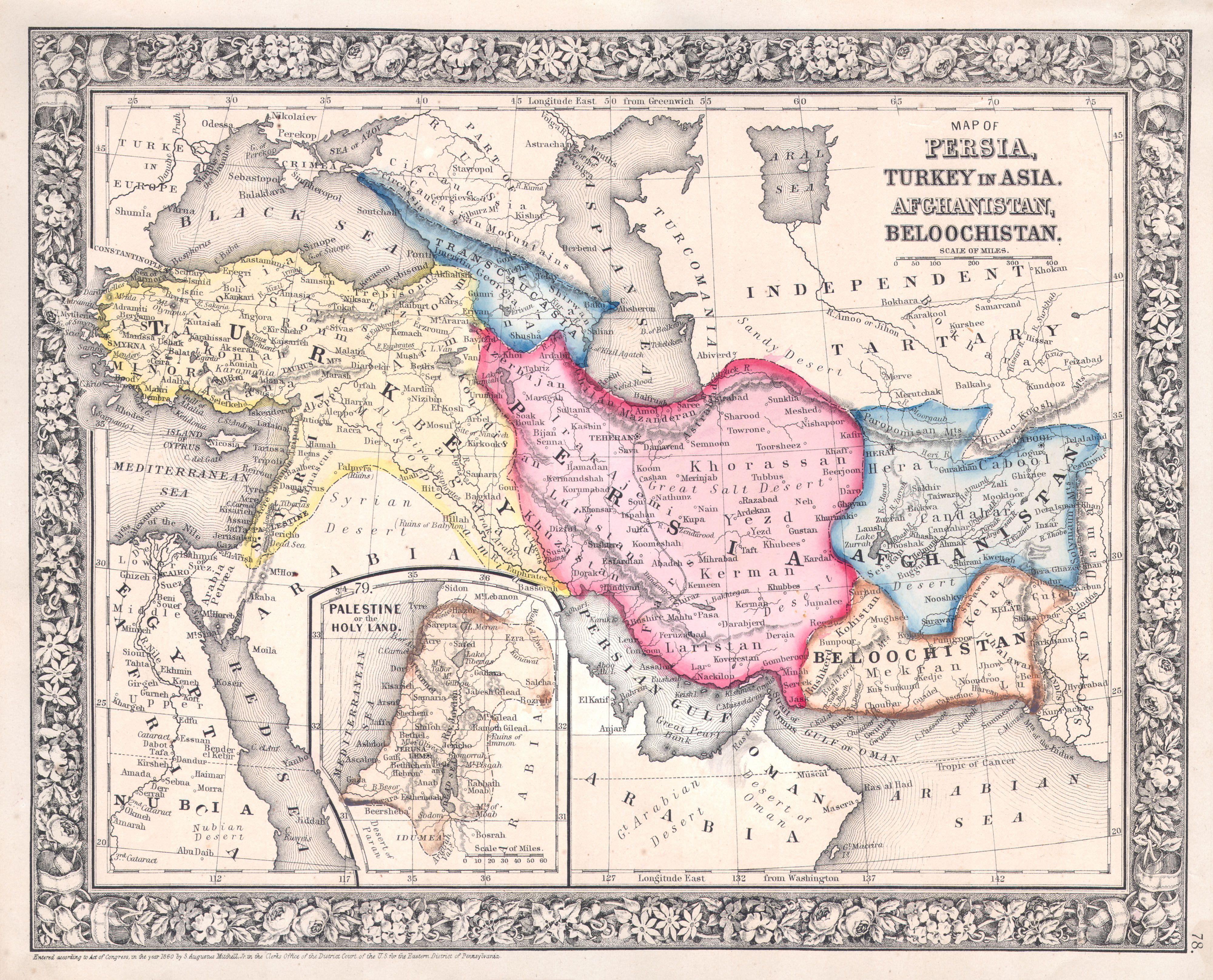 File1864 Mitchell Map of Persia Turkey and Afghanistan Iran – Afghanistan Iran Map