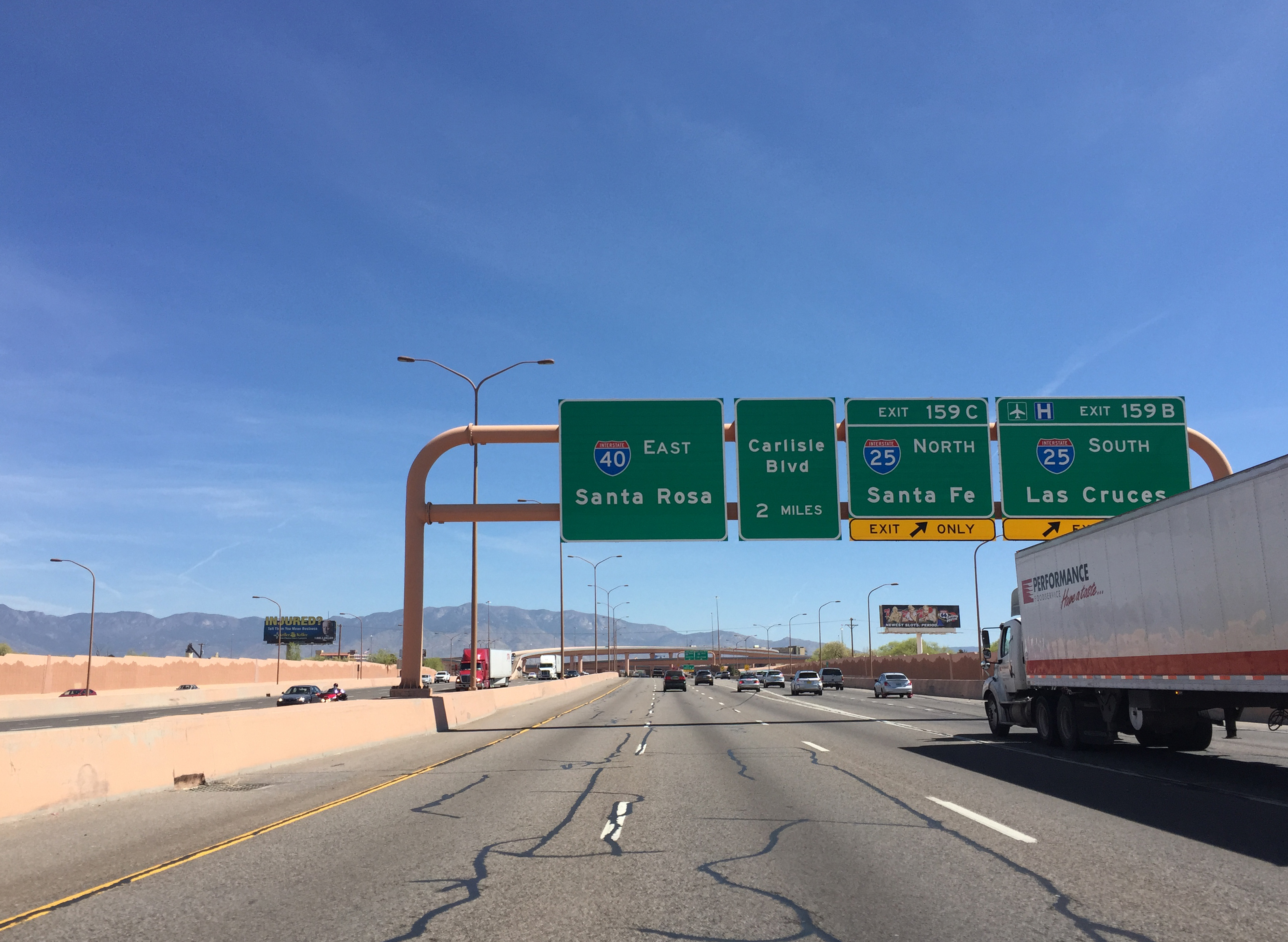 Albuquerque To Santa Fe >> File:2016-03-21 13 09 01 View east along Interstate 40 at Exit 159 (Interstate 25, Santa Fe, Las ...