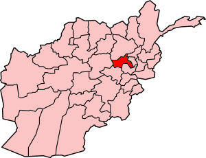 Map showing Parvan province in Afghanistan