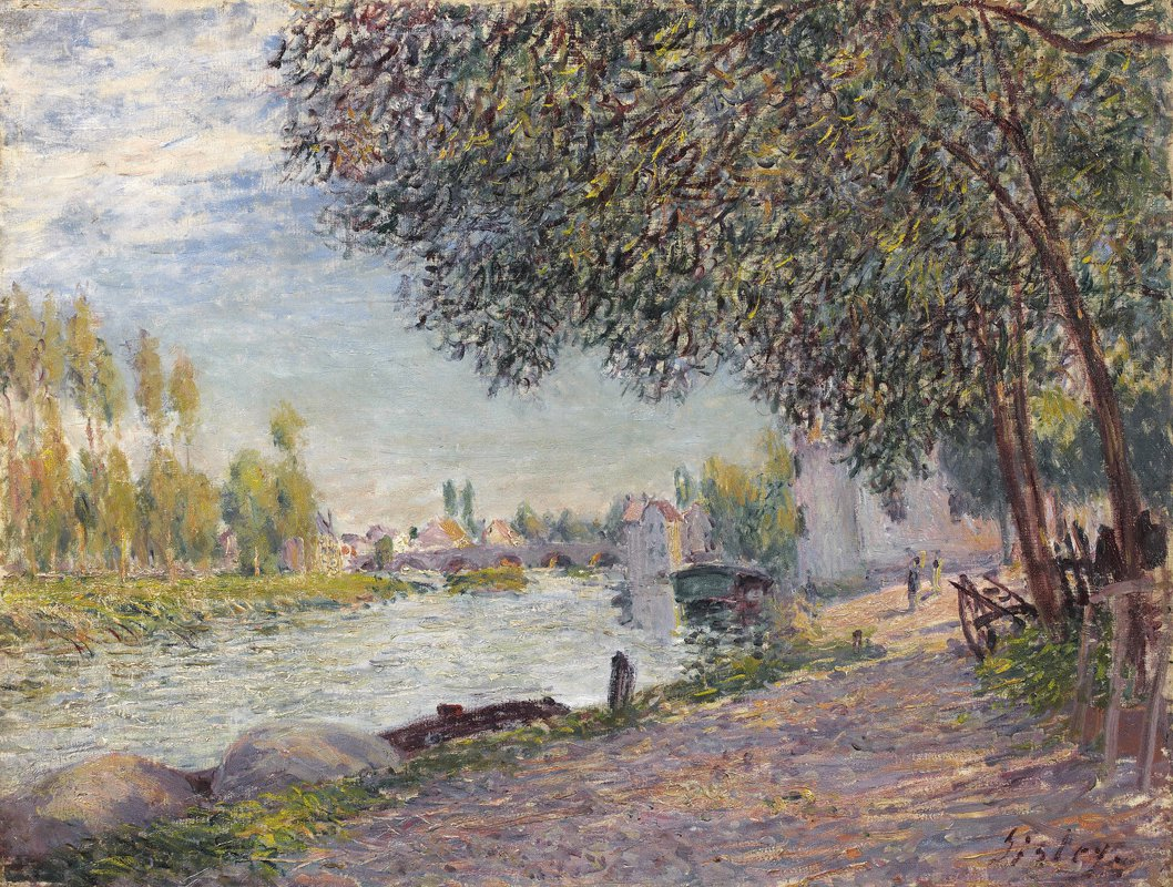 File:Alfred Sisley, The Port of Moret-sur-Loing - At night ...