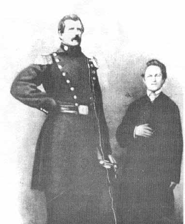 Angus MacAskill in Uniform beside a (6 feet 5 inces tall) canadian friend