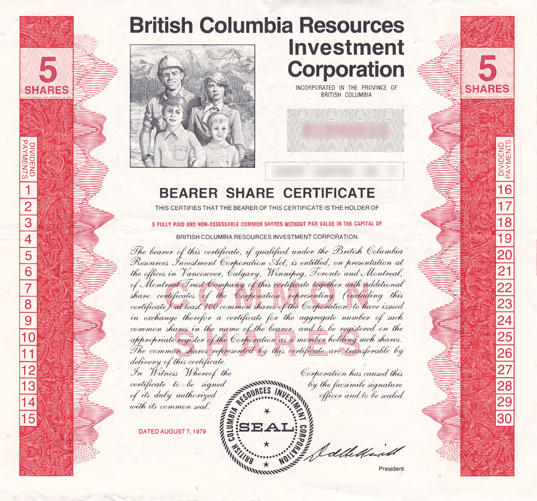British columbia resources investment corporation wikipedia for Free share certificate template bc