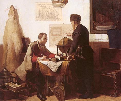 Barents and Van Heemskerk - Schilderij van Christoffel Bisschop - 1863
