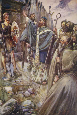 Columba at the gate of Bridei I's fortress, book illustration by Joseph Ratcliffe Skelton (1906) Columba at Bridei's fort.jpg