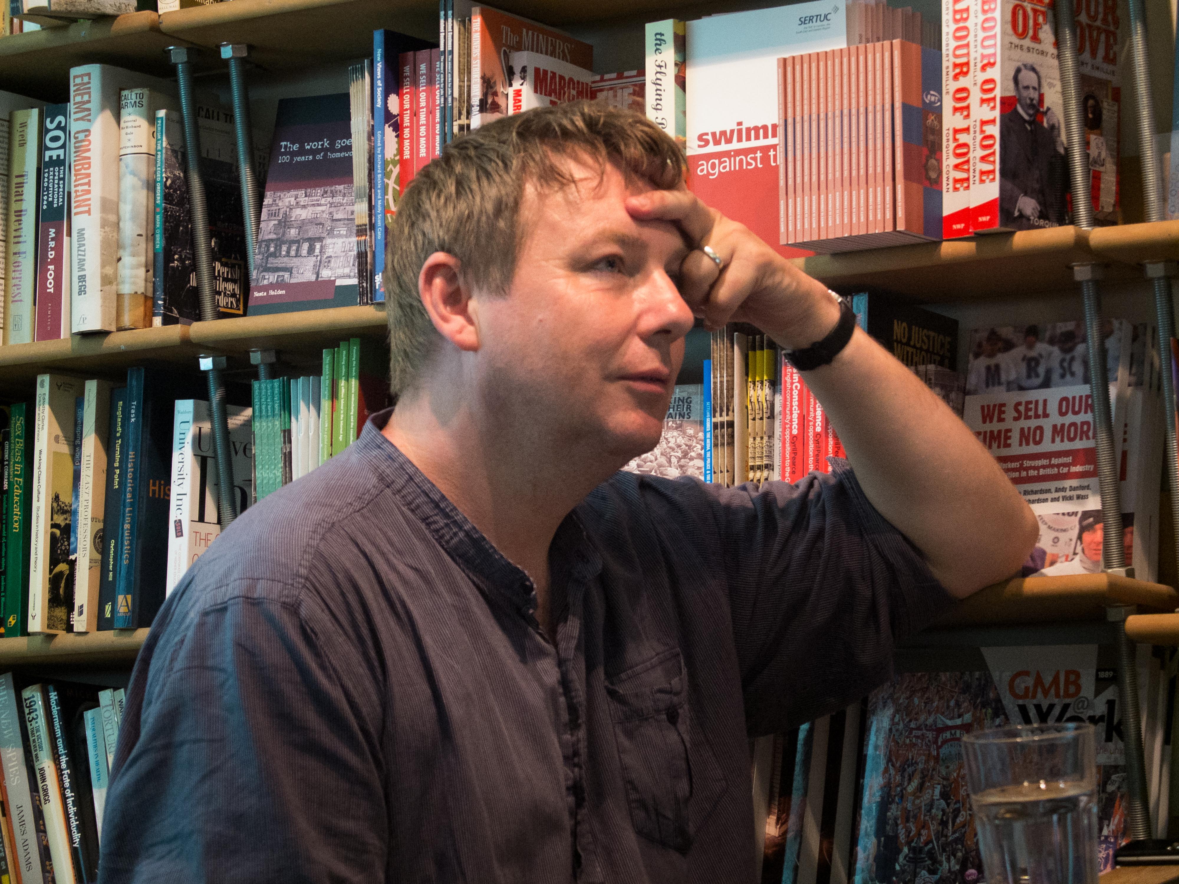 Dorling at Bookmarks bookshop, [[Bloomsbury]] in 2014