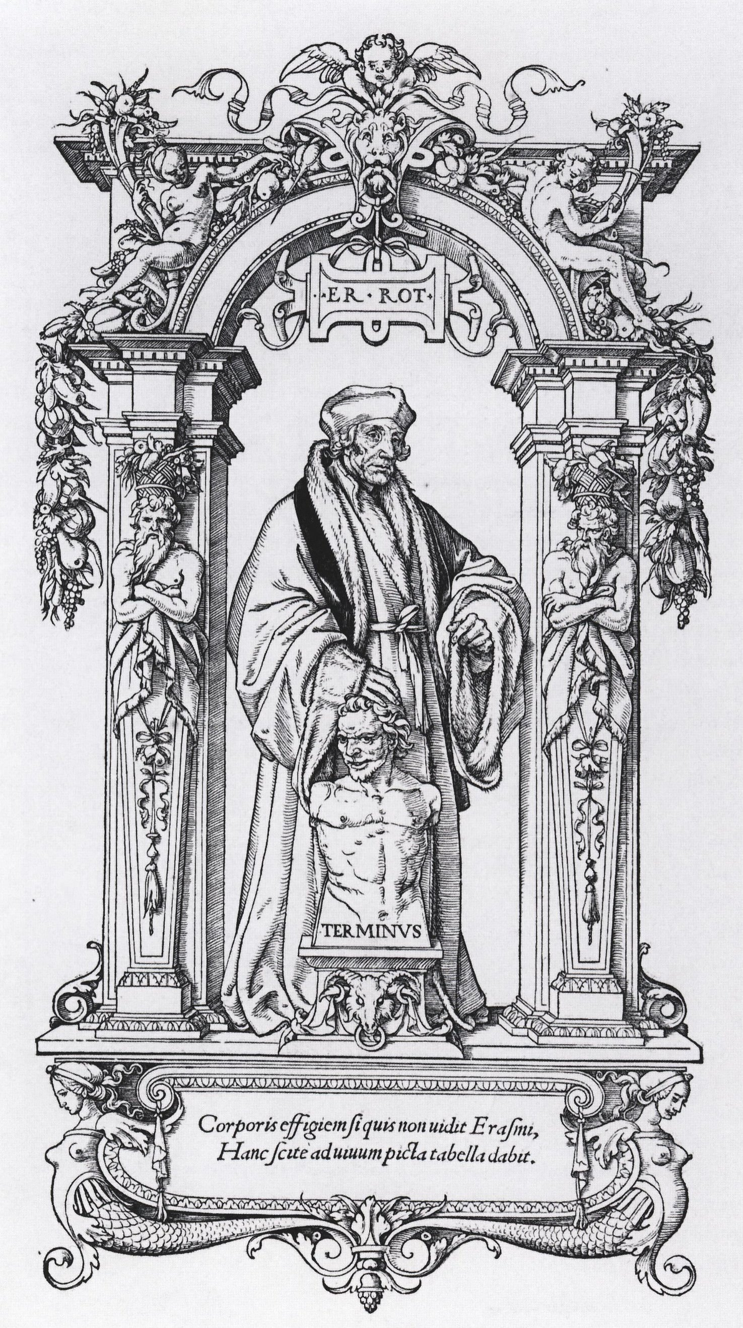 File:Desiderius Erasmus, woodcut by Hans Holbein the ...
