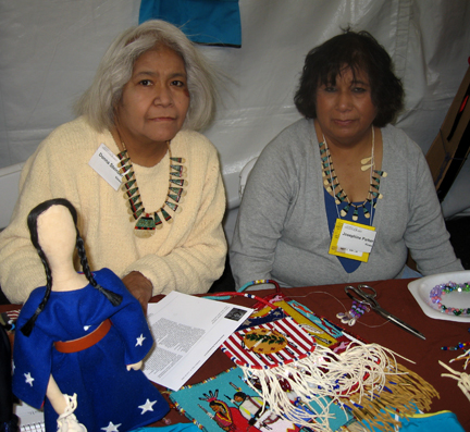 Donna Standing Steinberg, Kiowa-Wichita and Josephine Parker, Kiowa, with their beadwork - Kiowa