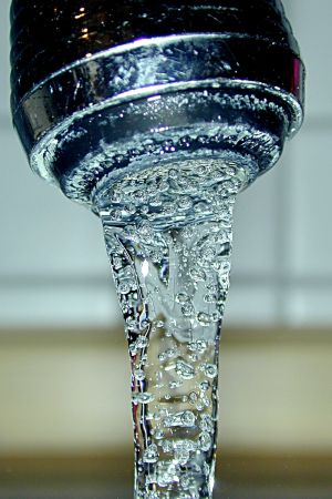 Close-up of tap water