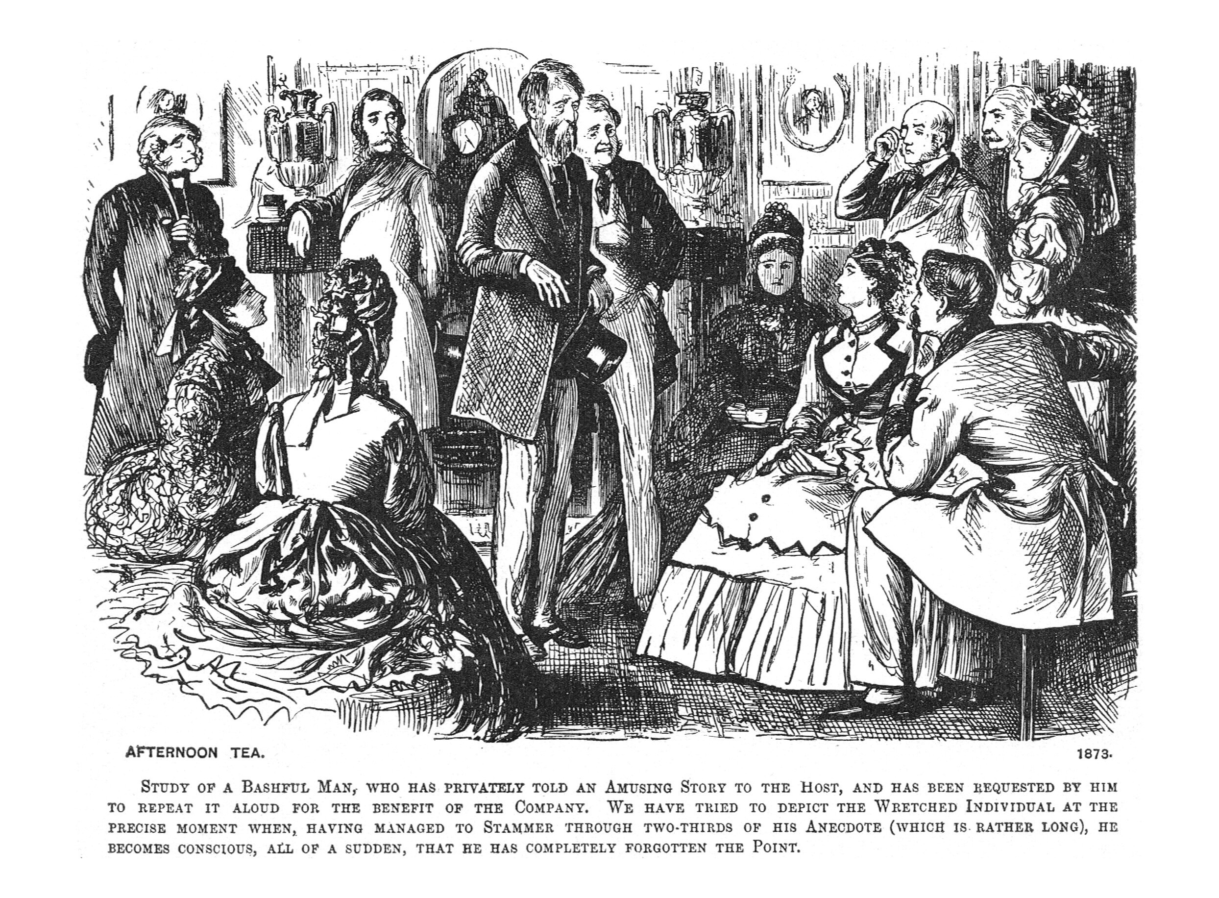 Du Maurier, Society Pictures, 1895, 01 Afternoon Tea 1873.jpg