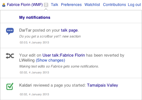 Notifications inform you of important events and invite you to take quick action.
