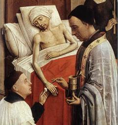 The Seven Sacraments Altarpiece triptych painting of Extreme Unction (Anointing of the Sick) with oil being administered by a priest during last rites. Rogier van der Weyden, c. 1445.