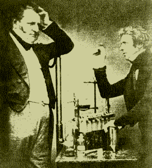 English chemist John Daniell (left) and physicist Michael Faraday (right), both credited as founders of electrochemistry today. Faraday-Daniell.PNG