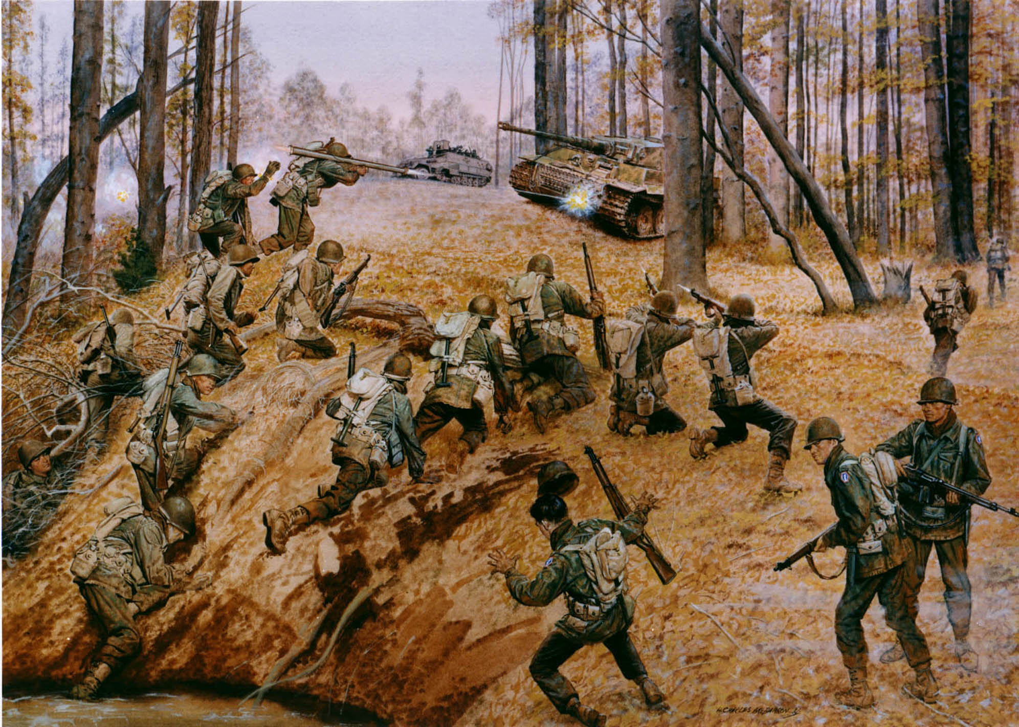 In foreground group of Japanese American soldiers climb over a ridge and begin to fire upon a German tank in the background which is accompanied by a German half-track in a wooded area.