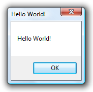 Hello World 於Windows Vista中的執行結果