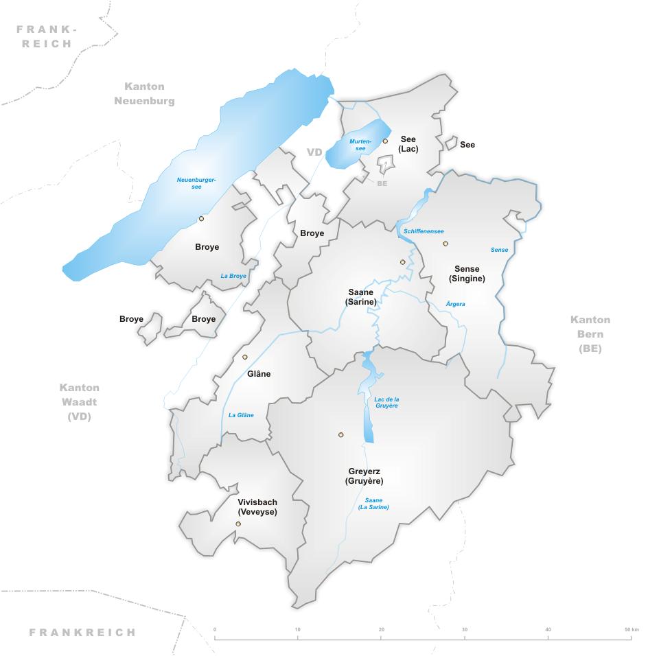 Freiburg Schweiz Karte.Datei Karte Kanton Freiburg Bezirke Png Wikipedia