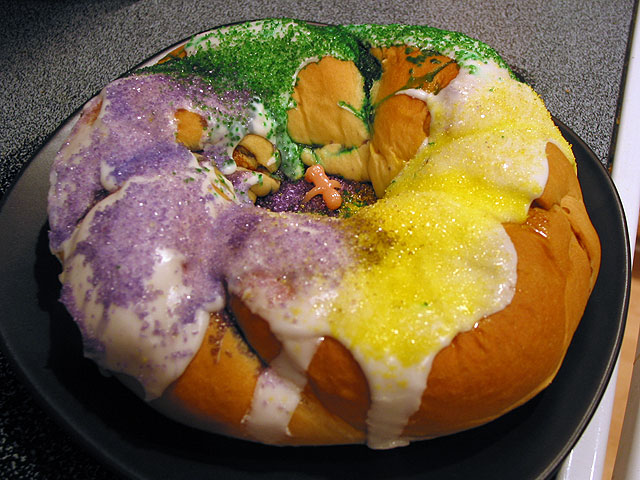 The traditional King Cake with a little figure inside