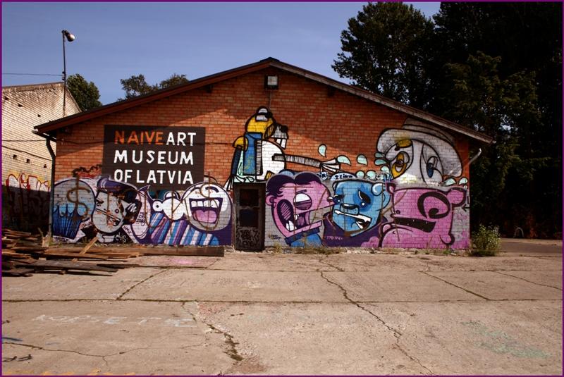 Street art sur un hangar à Andrejsala, Riga. Photo de Laima Gūtmane.