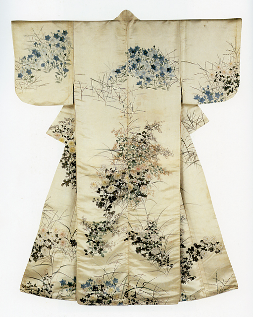 Kosode with autumn grasses design on white nume satin.jpg