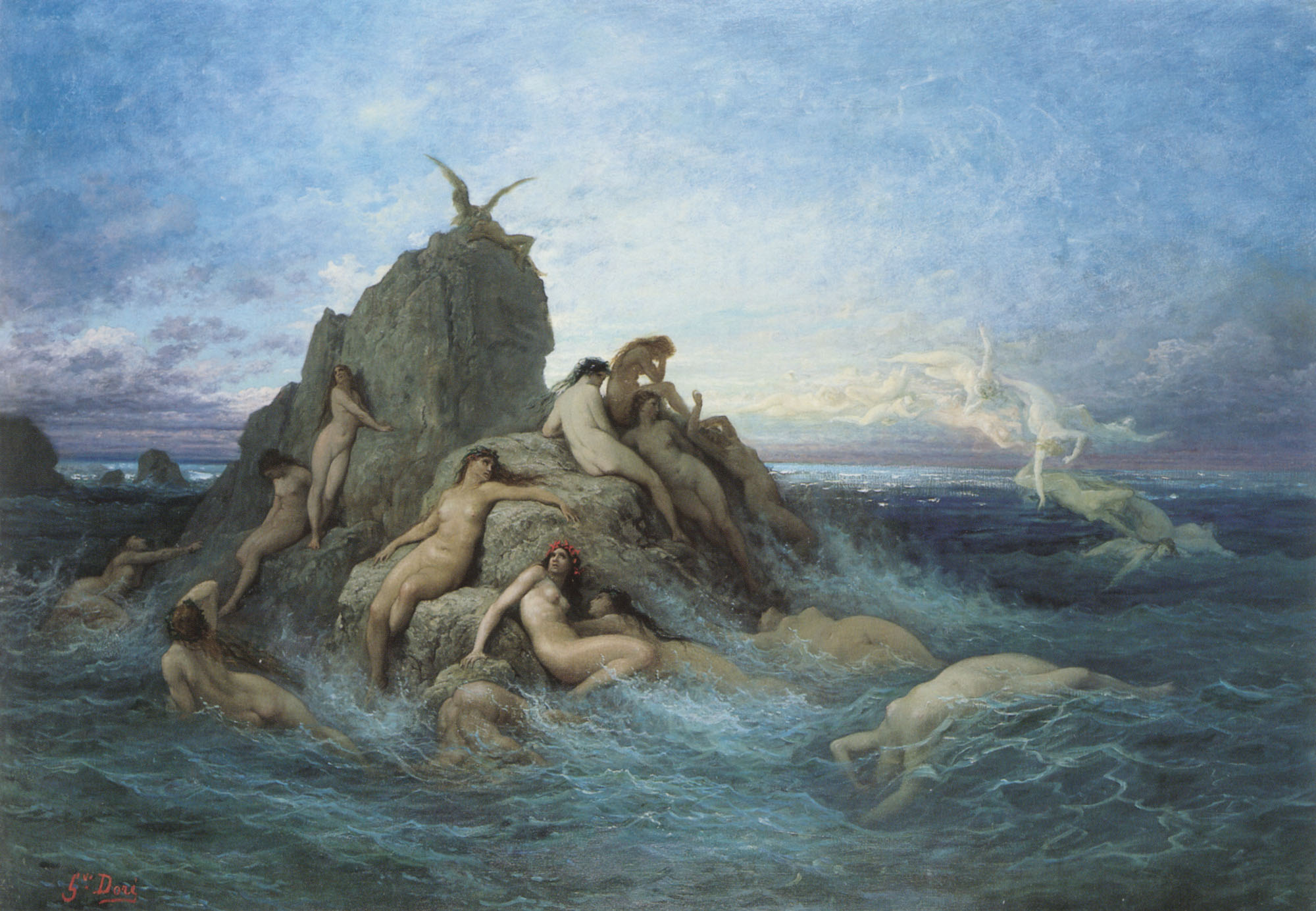 An image by Gustave Dore of Greek water nymphs playing in the sea.