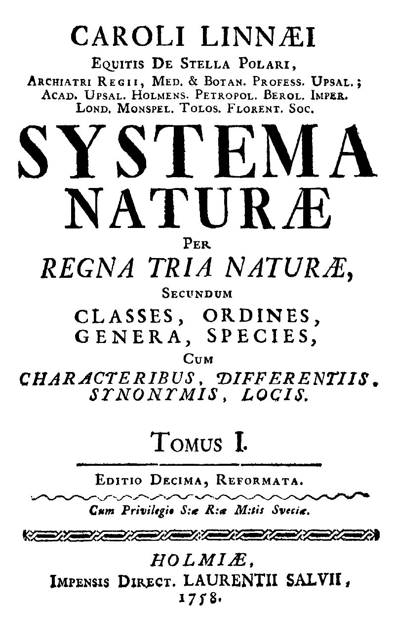10th edition of Systema Naturae - Wikipedia