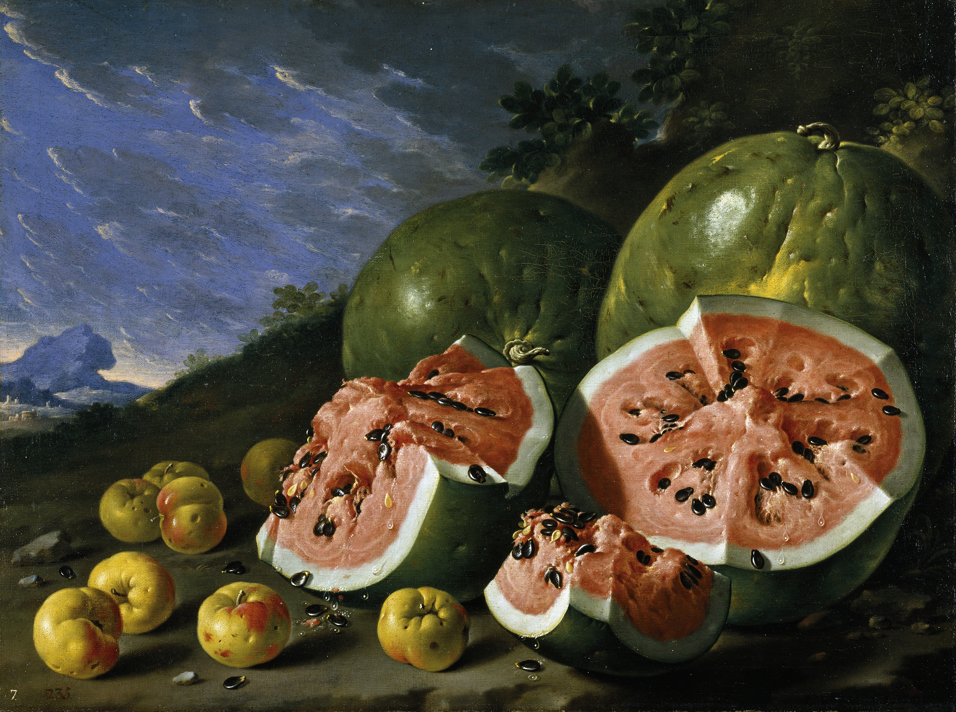 http://upload.wikimedia.org/wikipedia/commons/a/ae/Luis_Melendez,_Still_Life_with_Watermelons_and_Apples,_Museo_del_Prado,_Madird.jpg