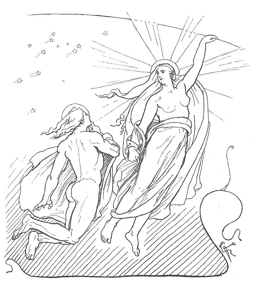 Dessin de Sol et Mani dans la mythologie scandinave
