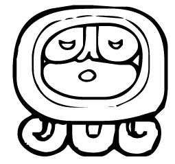 A modern pictogram of the Mayan god Ahau, afte...
