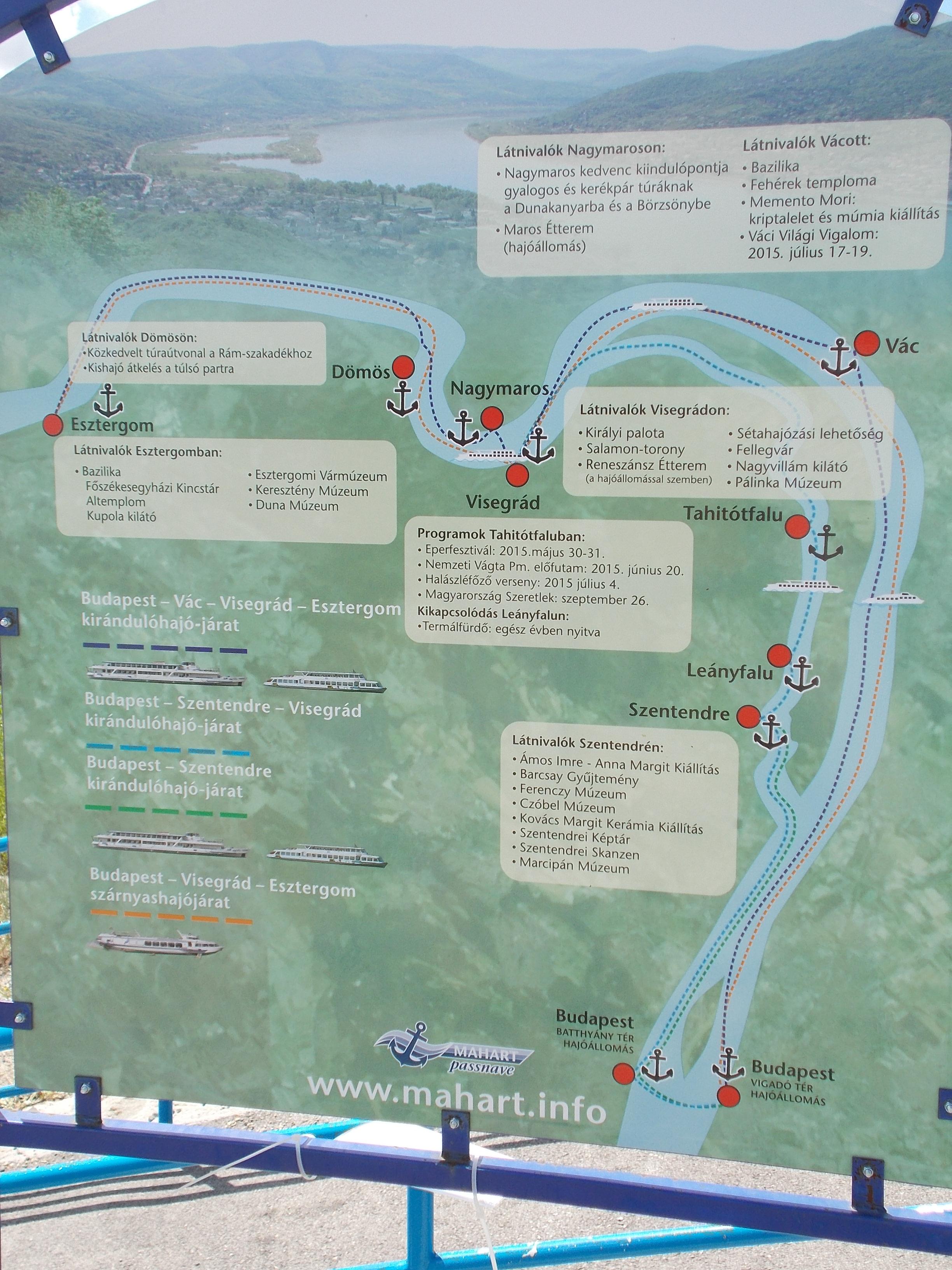 budapest visegrád térkép File:Map at the 'Szentendre Belváros' boat station. The Danube  budapest visegrád térkép