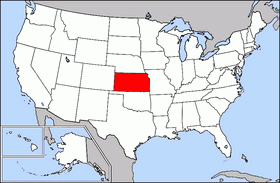 Mapa ning United States with Kansas highlighted