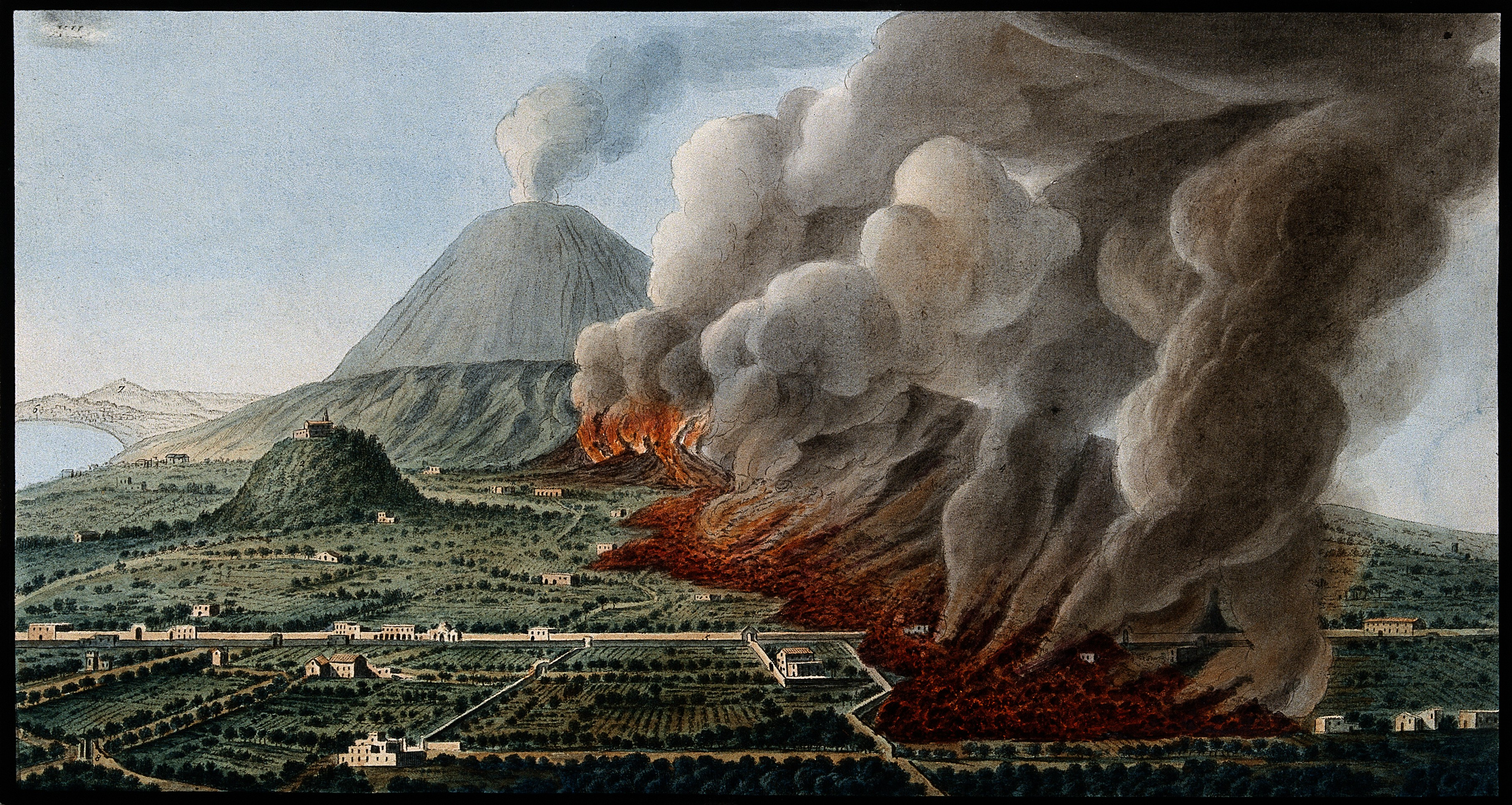 File Mount Vesuvius A Volcanic Eruption At The Foot Of The Mount Wellcome V0025260 Jpg
