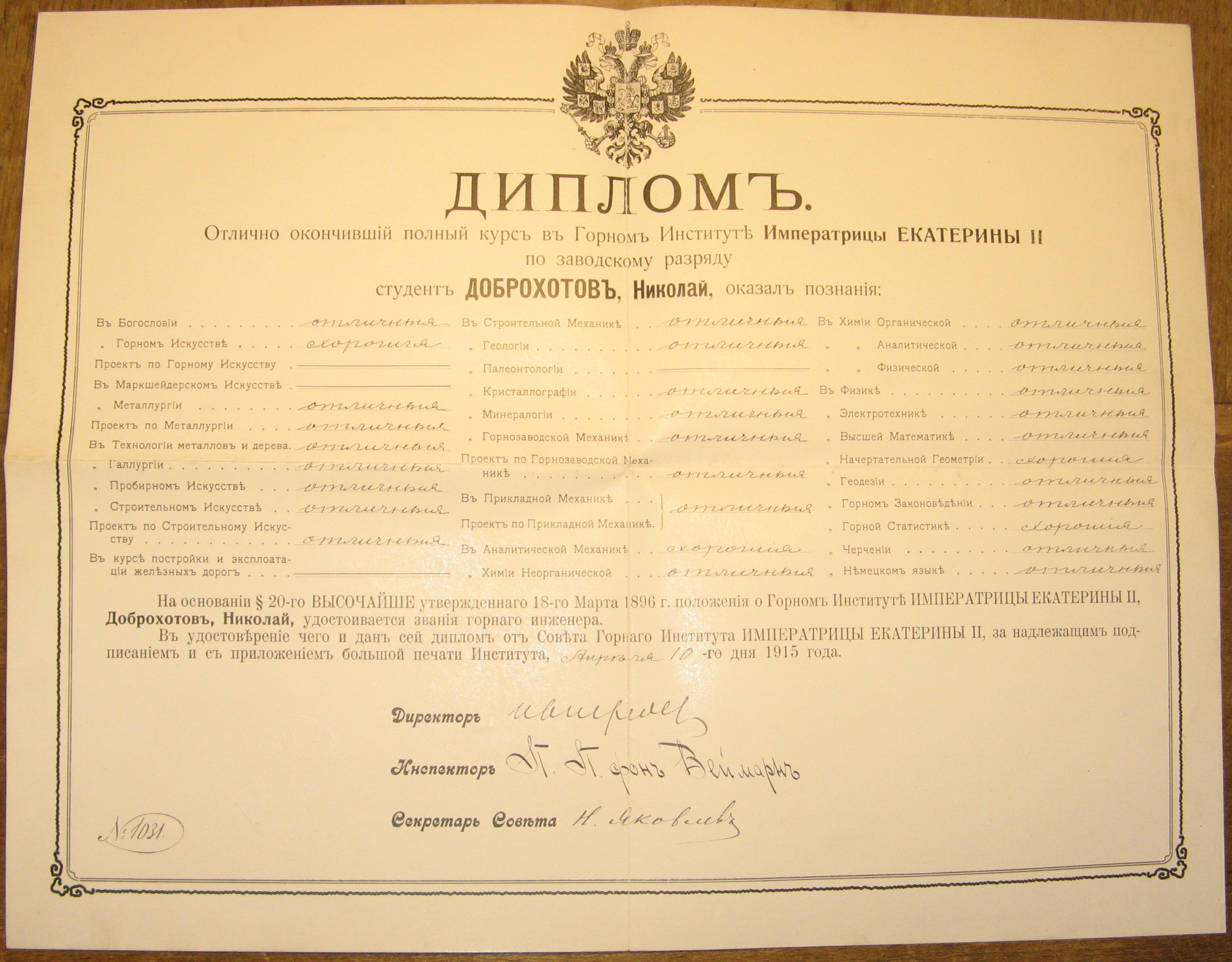 file n n dobrokhotov`s diploma of graduation from mining  file n n dobrokhotov`s diploma of graduation from mining institute jpg