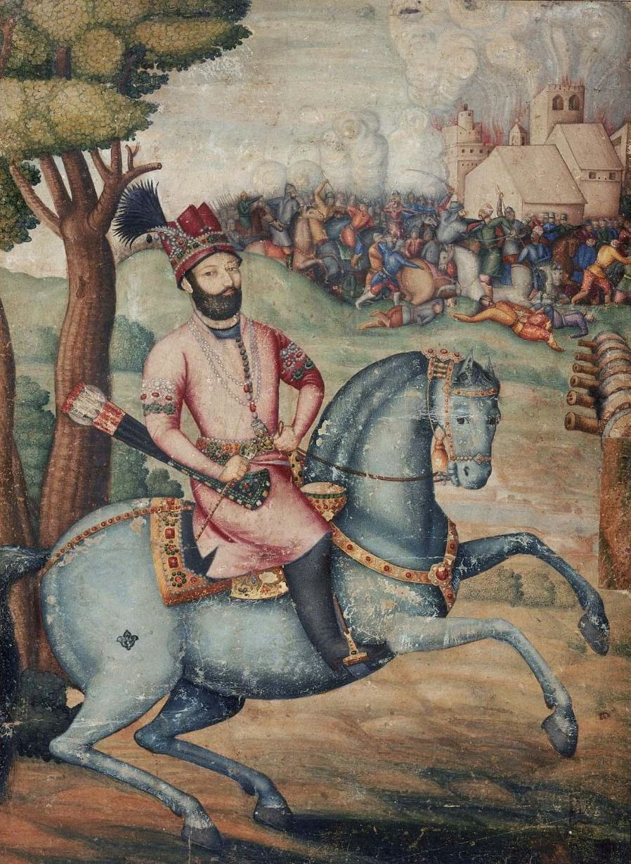 https://upload.wikimedia.org/wikipedia/commons/a/ae/Nadir_Shah_at_the_sack_of_Delhi_-_Battle_scene_with_Nader_Shah_on_horseback%2C_possibly_by_Muhammad_Ali_ibn_Abd_al-Bayg_ign_Ali_Quli_Jabbadar%2C_mid-18th_century%2C_Museum_of_Fine_Arts%2C_Boston.jpg
