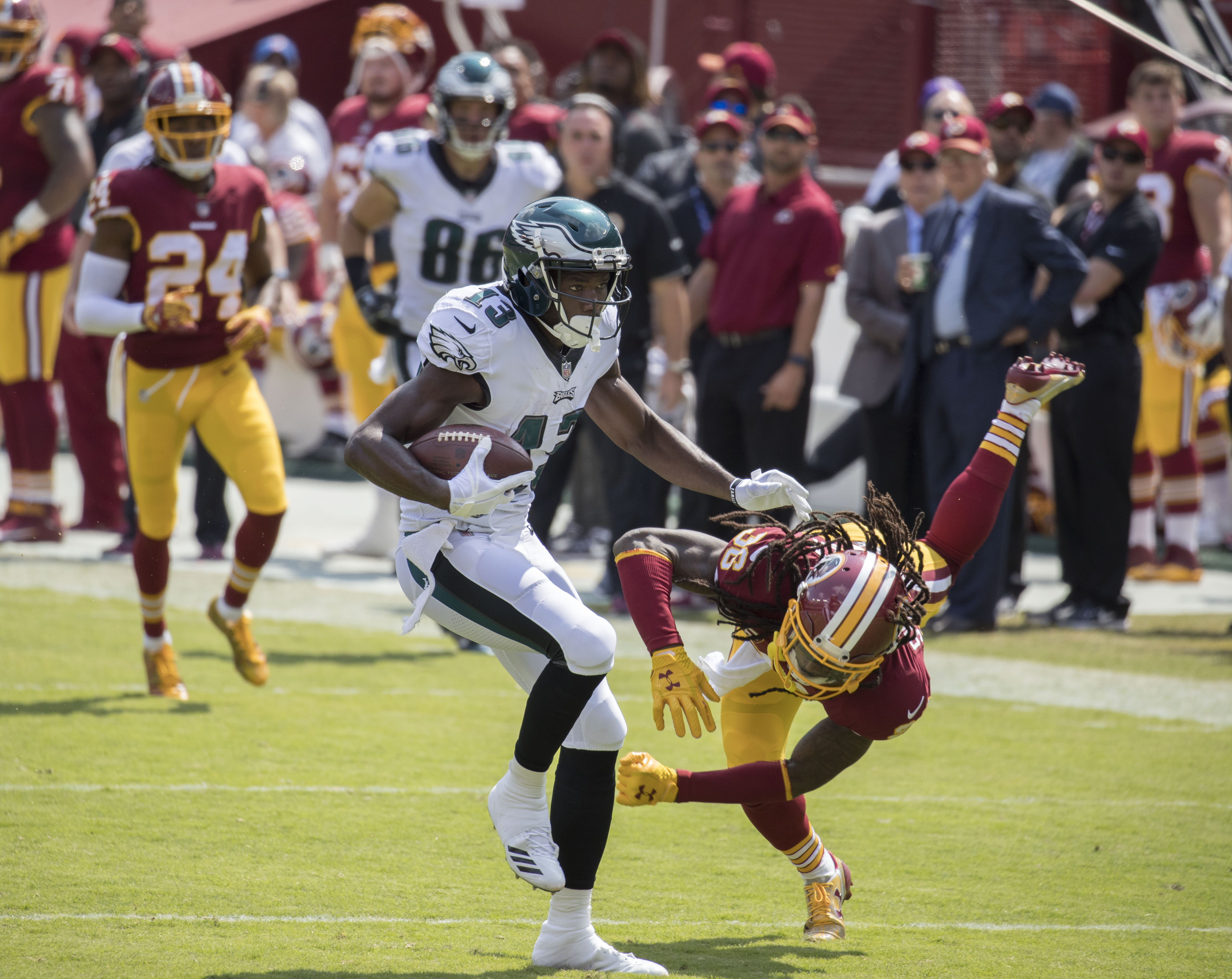 f14049046de Agholor breaking a tackle before scoring a touchdown against the Washington  Redskins in 2017