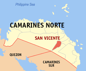 Map of Camarines Norte showing the location of San Vicente
