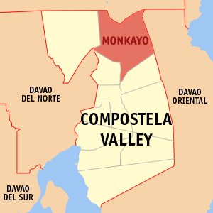 Map of Compostela Valley showing the location ...