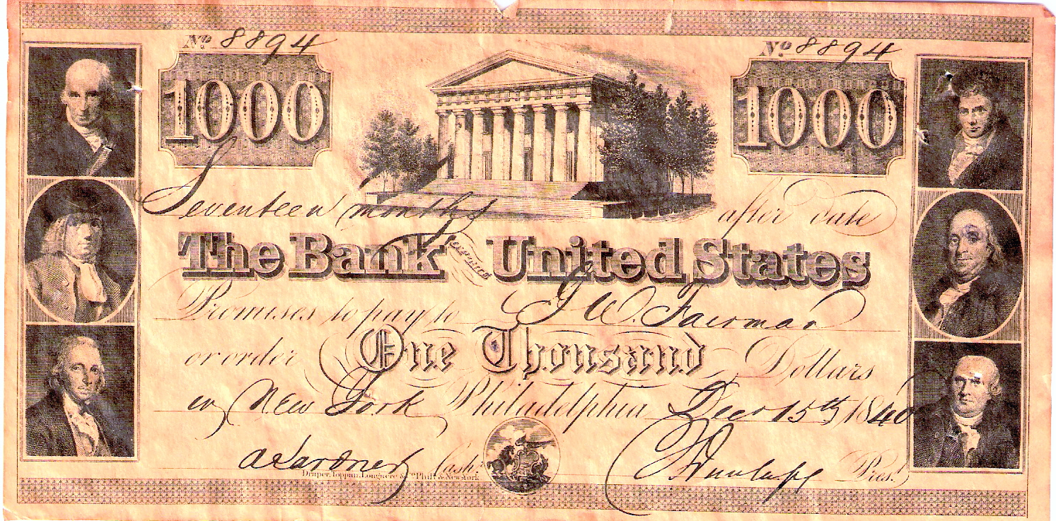 The Second Bank of the United States one thousand dollar note