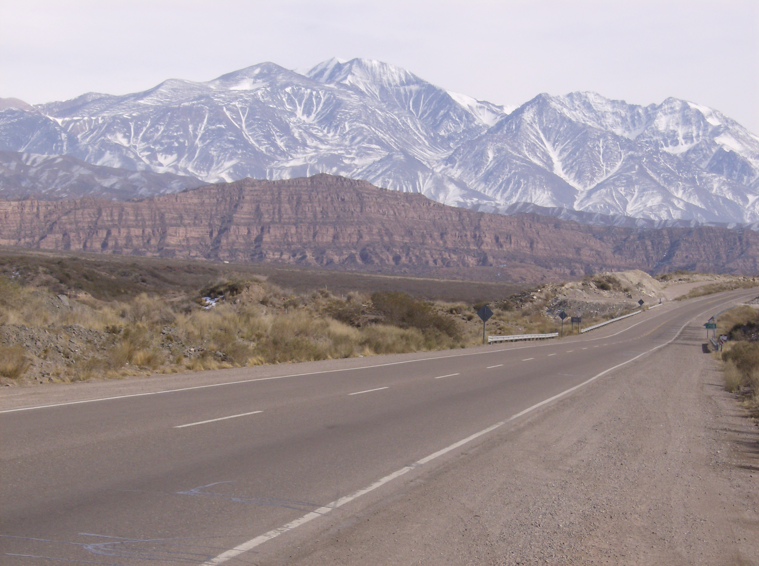 The snowy Andes viewed from the National Route 7.