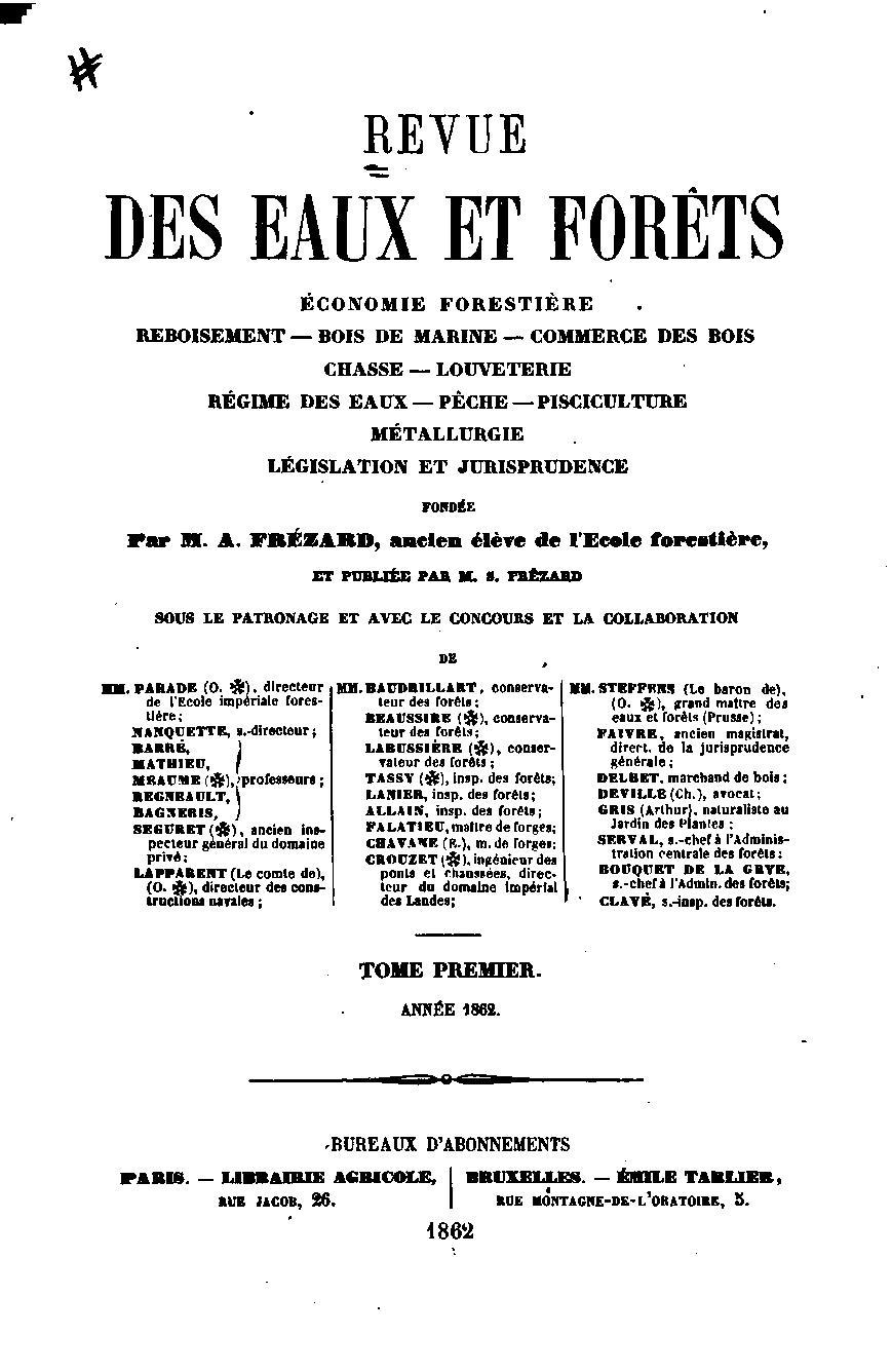 Revue des eaux et for ts wikip dia for Eaux et forets