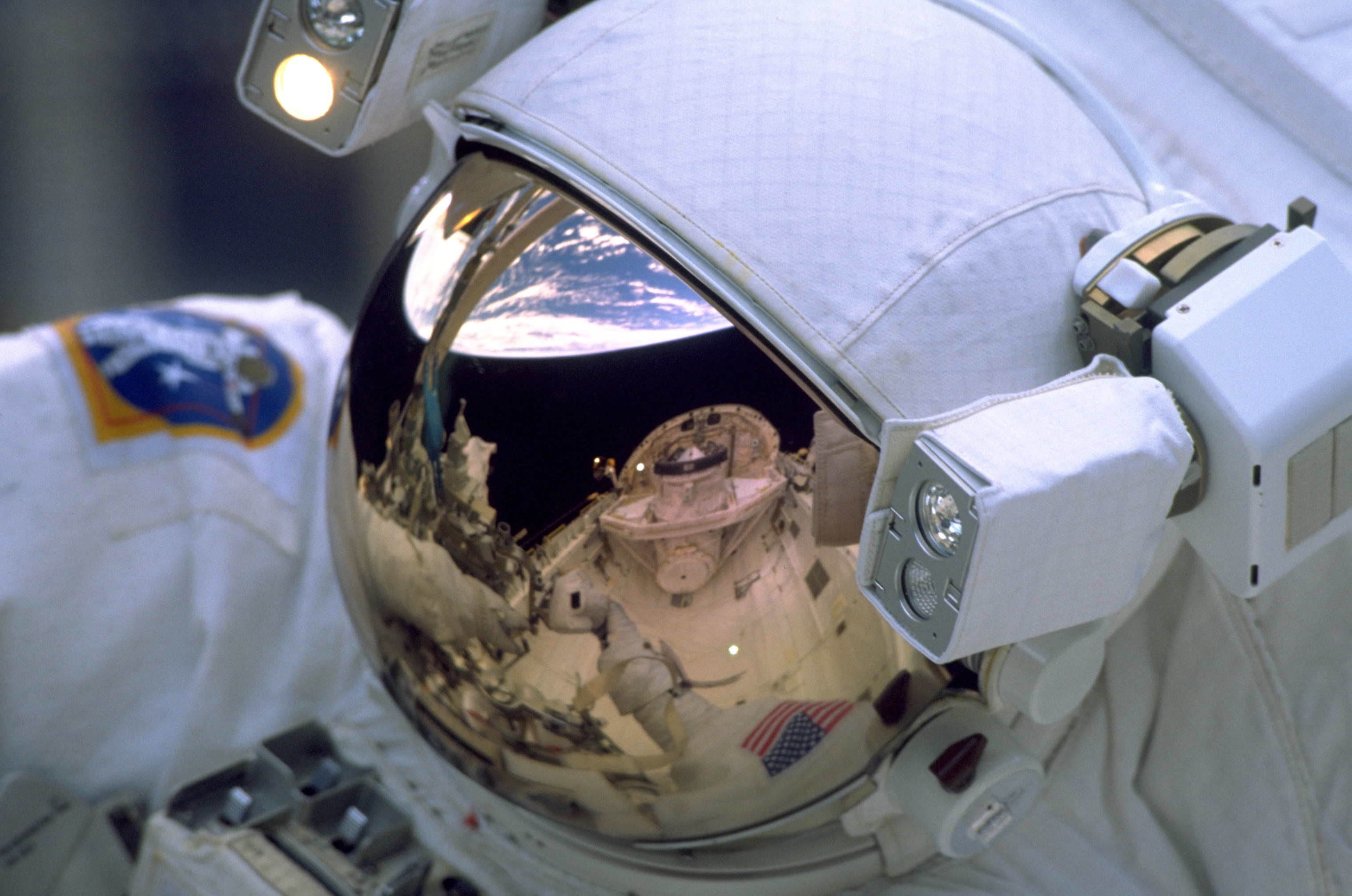 Astronaut visor reflection