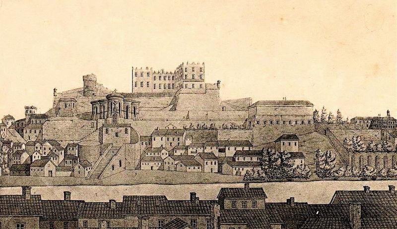 File:Saint-Chamond (Loire), château des seigneurs de et église collégiale, sur la colline Saint-Ennemond, gravure 1644.jpg