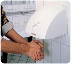 Secador de manos de un lavabo público