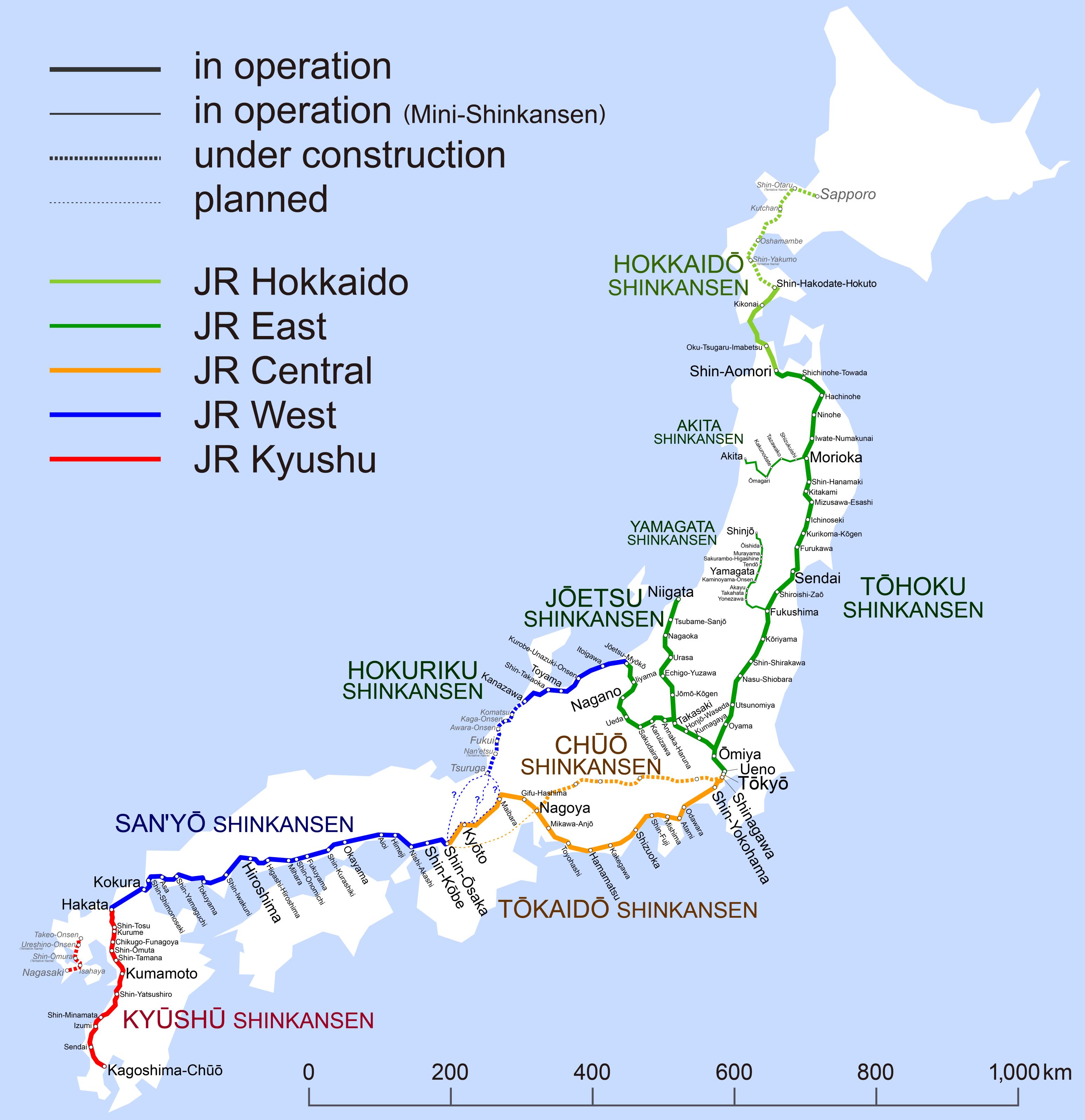 201603: File:Shinkansen Map 201603 En.png